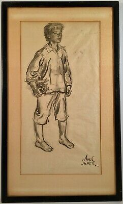 Listed Pulp Artist Amos Sewell (1901-1983) Signed Charcoal Illustration Drawing