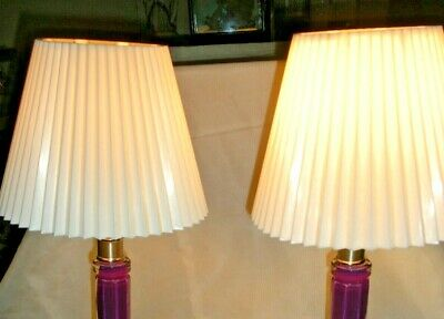 VTG PR MID CENTURY 50's 2 CLIP ON SHADE WHITE PLEATED PLASTIC, MADE USA