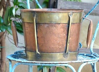 """Fantastic Copy of 18th Century 11"""" Large Vinatge French Copper Rustic Pot Signed"""