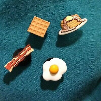 Cute Breakfast Food Set Egg Bacon Pancakes Waf Croc Hole Accessories Shoe Charm