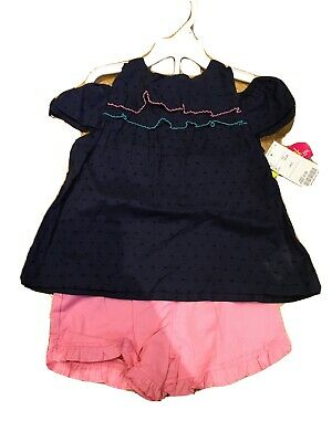 t shirt and shorts set Navy Pink Age 5 Girls Summer BNWT holiday Summer Occassio