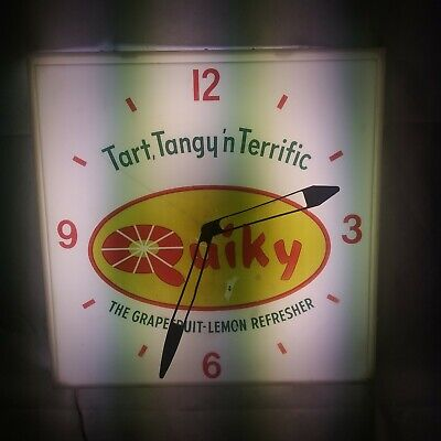 Quiky Soda Advertising Lighted Clock Neon Products Incorporated