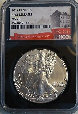 2017 American Silver Eagle NGC MS70 225th Mint Anniv Black Core