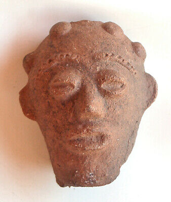 Antique Mexican PreColumbian Head Fragment Old Mexican Pre Historic Pottery