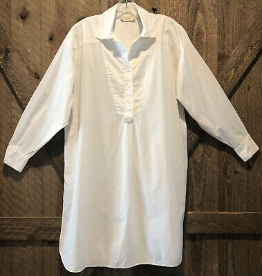 VICTORIA'S SECRET M Bright White Vintage Gold Label Cotton Night Shirt Oversized