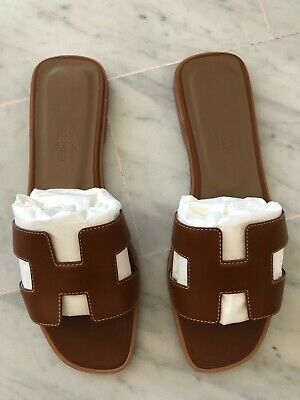 Authentic BRAND NEW never worn H E R M E S ORAN sandals T. 37 - with receipt