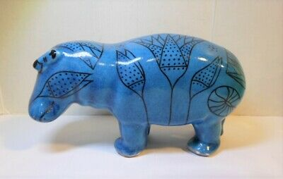 """Vintage BLUE POTTERY HIPPO FIGURINE Egyptian Plants Design Made in China 8.5"""" L"""