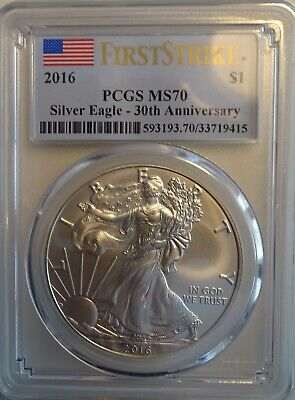 2016 American Silver Eagle PCGS MS70 30th Anniversary 1st Strike
