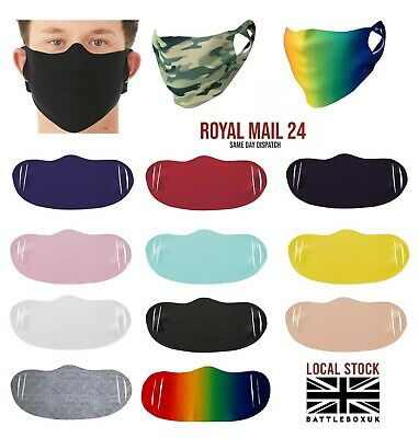 Mouth Face Cotton Reusable Mask Washable Breathable Stretch Black CrossFit UK