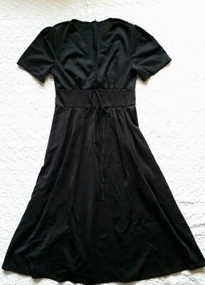 Vintage Handmade Solid Black Womens Small Fit N Flare A Line Sheath Dress USA