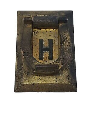 Vintage Solid Brass Horseshoe Door Knocker Monogram H Heavy Patina Good Luck