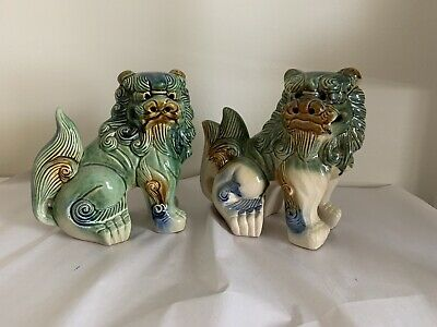 Vintage Pair Chinese Green Blue Glazed Pottery Foo Dog Lion Statues 8.5""