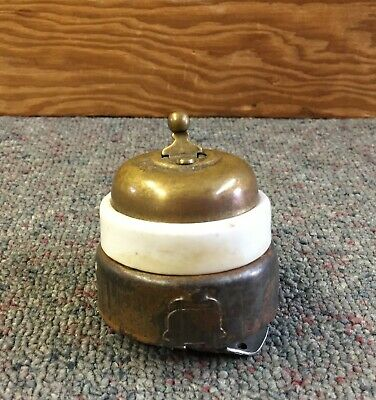 Antique BRASS & PORCELAIN Electric Switch L@@K