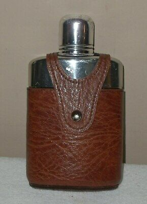 Half pint Hip whiskey liquor Flask Glass Brown Leather Case Stainless Shot Cup