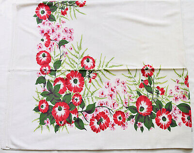 "Vintage 1940s-50s Red & Pink Floral Tablecloth 52"" x 61.5"""