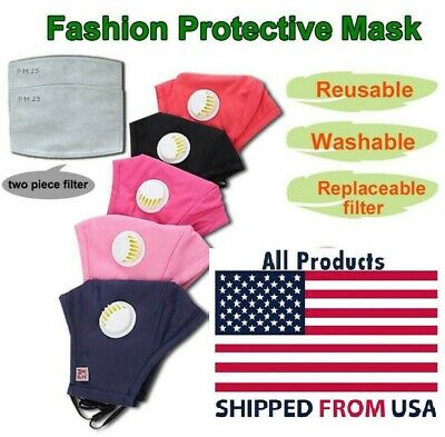 Washable Reusable Face Cover Mask With Respirator With 2 Filters