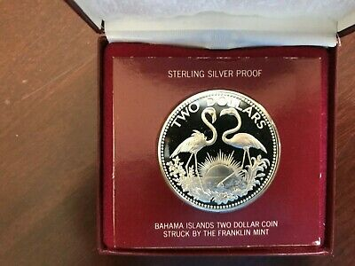 Beautiful Bahama Islands 1974 Sterling Silver Two Dollar Coin Unc-Gift Boxed