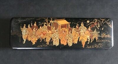 Antique Gold Hand Painted Chinese Lacquer Pen Glove Fan Trinket Box