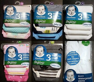 NEW Gerber Organic Cotton Thick Potty Training Pants, Plastic Covers YOU CHOOSE