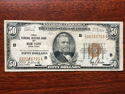 Fifty Dollar National Currency 1929 Brown Seal FRB New York !