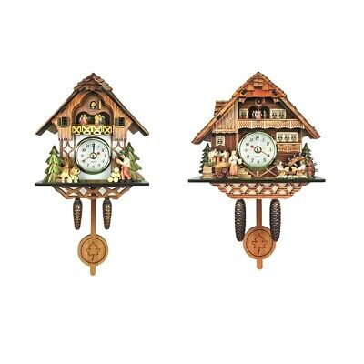 2xWall Clock Antique Wooden Cuckoo Bird Time Bell Swing Alarm for Home Decors