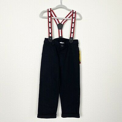 NWT Disney Baby Boys Sz 12-18 Months Mickey Mouse Black Pants Suspenders