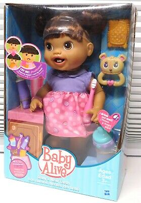Baby's Teeth Ethnic Brunette Baby Alive New Doll Retired Bottle Lots Accessories