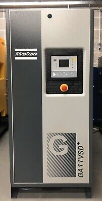 Atlas Copco GA11VSD+ Variable Speed Drive Rotary Screw Compressor 69cfm, 11Kw!