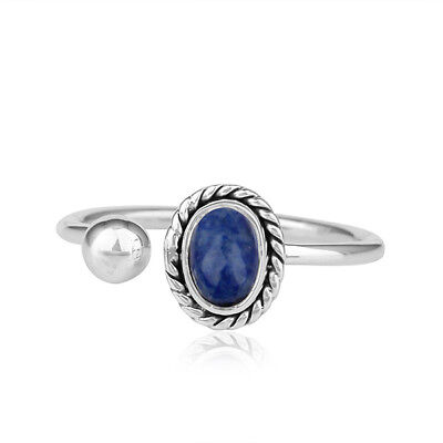 Natural Lapis Lazuli Gemstone Antique Sterling Silver Oxidized Ring Jewelry