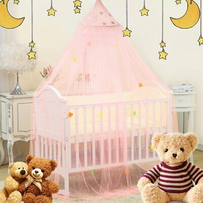 Pink Bed Canopy Mosquito Net For Kids Baby Crib Princess Round Hang Dome USA