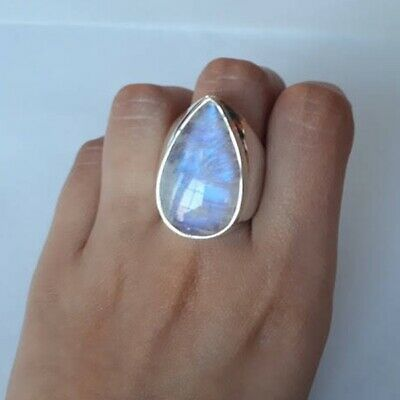 925 Silver Ring Woman Fire Opal Moon Stone Turquoise Wedding Engagement Size6-10