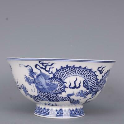 """6.1"""" Collect Chinese Qing Dynasty Blue and White Porcelain Two Cloud Dragon Bowl"""