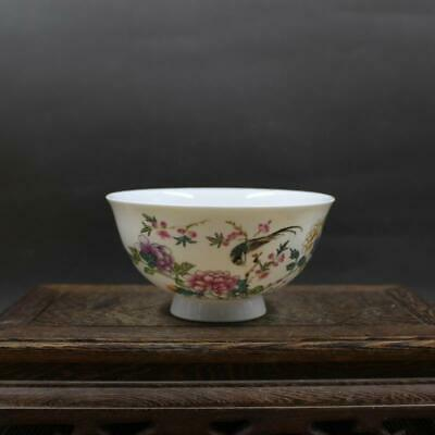 Collect Chinese Qing Dynasty Porcelain Famille Rose Peony Flowers and Birds Bowl