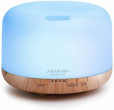 ASAKUKI 500ml Essential Oil Diffuser, 5 in 1 Ultrasonic Aromatherapy Fragrant