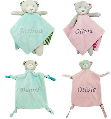 Baby Boy Girl Personalised Name Comforter Blanket Rattle With Legs Bear Baby Toy