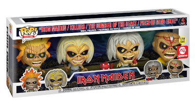 Funko Pop Rocks - Iron Maiden Eddie 4-pack figures AE exclusive Glow In The Dark