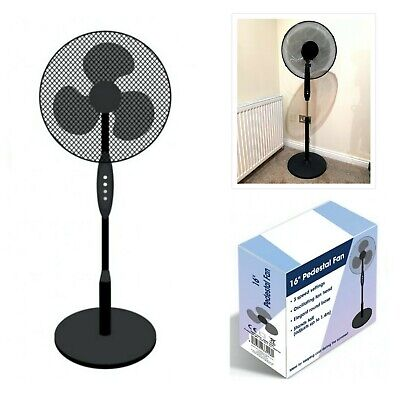 Floor Standing Pedestal Cooling Fan 16 Inch Oscillating Electric 3 Speed Black
