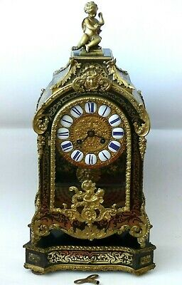 RARE Antique Large French Boulle faux Tortoiseshell / Inlaid Brass Clock + Stand