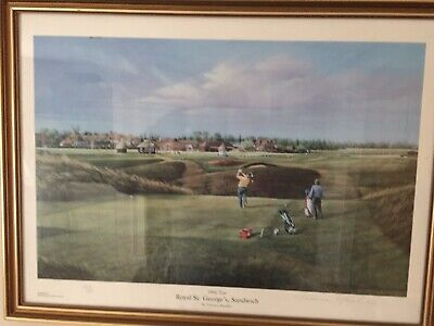Royal St Georges Golf Course 18th Tee orginal print by Terence Macklin signed