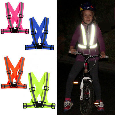 EY_ KQ_ Kids Adjustable Safety Security Visibility Reflective Vest Gear Stripes