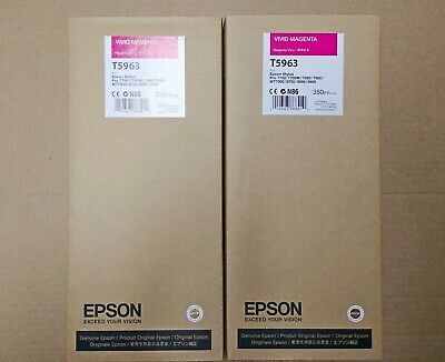 Lot of 2 EPSON T5963 Vivid Magenta 350ml for Stylus Pro 7700/7890/7900/9700/9900