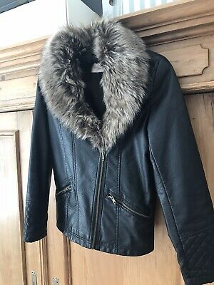 girls faux leather jacket with Fur Age 12-13