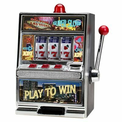 Mini Home Slot Machine Las Vegas Style Casino Coin Bank With Winning Light