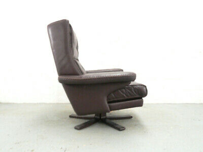 Danish Brown Leather Swivel Chair Armchair by Vatne Mobler Mid century Vintage