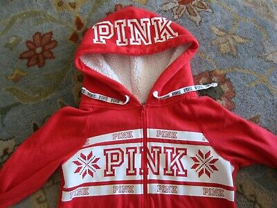 Victoria Secret PINK Pajamas One-Piece Romper Sherpa Hooded Red Snowflake Sz XS