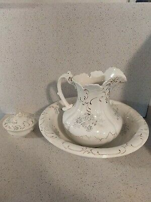 DRESDEN PORCELAIN PITCHER WASHBOWL WHITE W/ DELICATE FLOWERS w/ COVERED SOAP