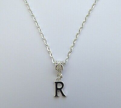 "Personalised Silver Plated Necklace Letter Initial 16"" Or 18"" Gift Favours Party"