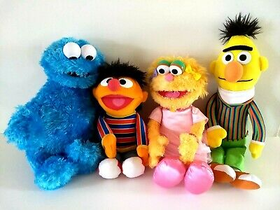 Sesame Street Plush Lot of 4 Cookie Monster Ernie Zoe and Bert by Gund