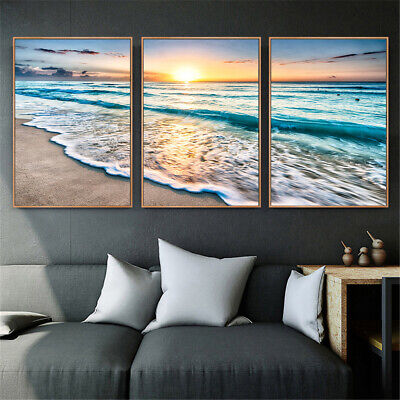 3PCS Canvas Print Pictures Wall Posters Sea Landscape Beach Painting Home Decor