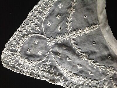 """Antique Vintage Lace Collar White on White Embroidery Fine Sheer Cotton Lawn 17"""""""
